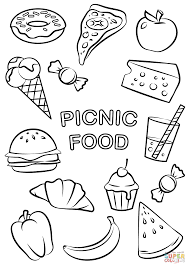 Food Coloring Pages Picnic Page Free Printable Pictures