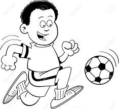 Black And White Illustration An African Boy Playing Soccer
