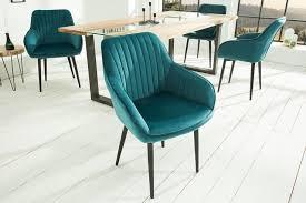 edler design stuhl turin samt türkis mit armlehne esstisch
