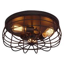 millennium lighting neo industrial rubbed bronze three light flush