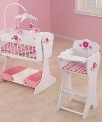 Floral Fantasy Doll Furniture Set Cradle Baby Doll Cribs