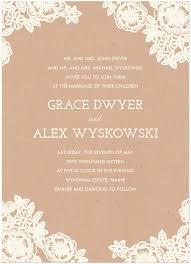 Lace And Kraft Wedding Invitation Featuring Josefin Slab Font