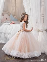 2018 Cheap Ball Gown Flower Girl Dresses Jewel Lace Appliques