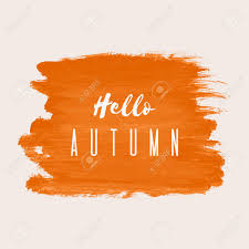 Poster Design Hello Autumn Vector Hand Paint Orange Watercolor Texture Isolated On White Background Grunge Frame
