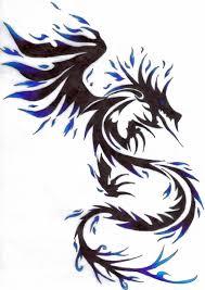 Awesome Black Tribal Ink Dragon Tattoo Design