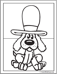 Dog In Top Hat Coloring Page Fun