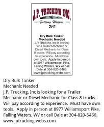 Dry Bulk Tanker Mechanic, J.p Trucking Inc, Falling Waters, WV West Virginia Sees Shortage Of Truck Drivers Business J B Hunt Transport Inc Truck Driver Jobs Adams Trucking In Barboursville Survives By Adapting Diversifying Driving Employment Otr Pro Trucker Drivejbhuntcom Learn About Military Programs And Benefits At Class A Delivery Home Daily San Antonio Tx Lease Purchase Flatbed Driving Jobs With Longevity Pay Regional Flatbed Trucking Fraley Schilling Offer More Company Ipdent Contractor Job Search W N Morehouse Entrylevel No Experience Oilfield Vs