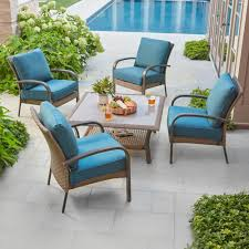 Home Depot Outdoor Dining Chair Cushions by Hampton Bay Corranade 5 Piece Wicker Patio Conversation Set With