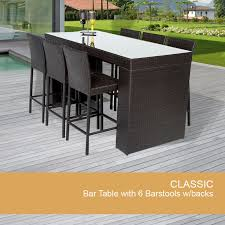 Patio Bar Table Elegant Bar Table Set With Barstools 7 Piece ... Brown Coated Iron Garden Chair With Wicker Seating And Ornate Arms Bar 30 Inch Bar Chairs Counter Height Swivel Stools Cool Rectangular Pub Table Designs Decofurnish Fashion Modern Outdoor Folded Square Abs Top Brushed Alinum High Outdoor Sets High Tops Fniture Teak Warehouse Patio Umbrella Holepatio Top Set Karimbilalnet Home Design Delightful Tall Amazing Tables Black Stained Jackie Stool Awesome
