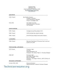 Pharmacist Objective Resume Hospital Pharmacy Technician