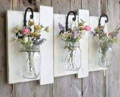 Mason Jar Flower Display Reclaimed Wood And Wrought Iron Hanging Hooks