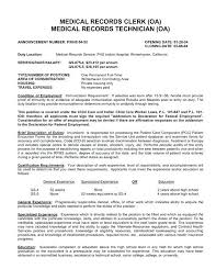 Resume Examples For Medical Records Clerk With Top Samples Free Sample