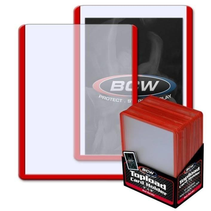 BCW 3x4 Topload Card Holder - Red Border, White