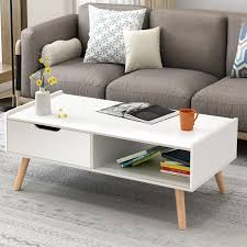 Modern Coffee Table Side End Table Cabinet W Drawers Solid Wood