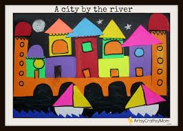 A City By The River Easy Paper Collage Idea For Kids