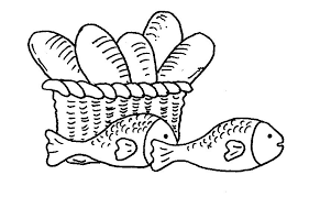 Two Fish And Five Loaves Of Bread Coloring Page