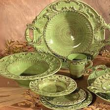 Image Of Tuscan Style Dinnerware With Green