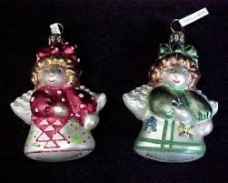 2 Blown Glass Angel Christmas Tree Ornaments Red Cherries Green Pansy