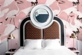 vintage vogeltapete schlafzimmer zimmer wand rosa