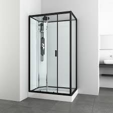 sanotechnik komplettdusche epic schwarz 235 cm x 120 cm x 90
