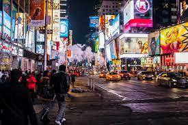 Free pedestrian road street night town new york