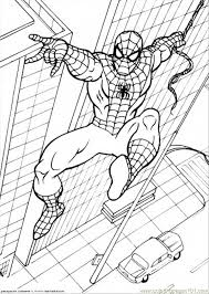 Spiderman Is Hanging To His String Coloring Page Download