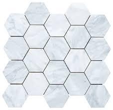 carrara hexagon mosaic tile white 12 25 x10 75 traditional