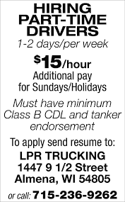 Part-Time Drivers, LPR Trucking, Almena, WI Shipex How To Train For Your Class A Cdl While Working Regular Job Riverview Llp Provides Several Parttimefull Mesilla Valley Transportation Truck Driving Jobs Drivers Still Arent Paid For All The Work They Do Leading To Life Lessons From An Uber Driver Snagajob Heartland Express Parttime Driver Namekagon Transit Hayward Wi The Future Of Trucking Uberatg Medium Otr Billings Mt Dts Inc Paul Tulsa Ok Inexperienced Roehljobs