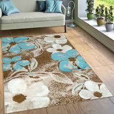 designer teppich wohnzimmer modernes blumen muster