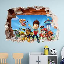 PAW PATROL WALL STICKER 3D BOYS GIRLS BEDROOM VINYL WALL ART DECAL