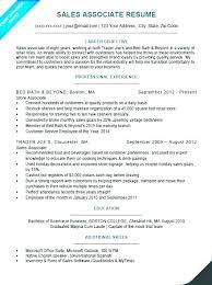 Resume Of Sales Associate Job Description For Example