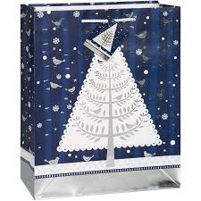 Large Silver Snowy Night Holiday Gift Bag