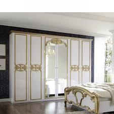 kleiderschrank weiß gold mdf 2 spiegeltüren 6 türig schlafzimmerschrank