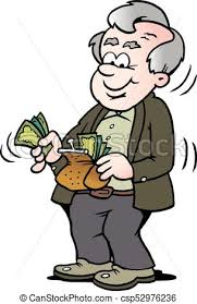Cartoon Vector Illustration A Happy Old Man Taking Money Out His Wallet