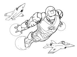 Iron Man Fly Airplane Coloring Page