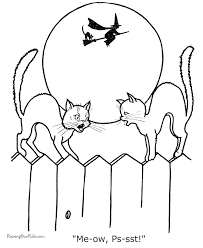 Black Cats Halloween Coloring Pages