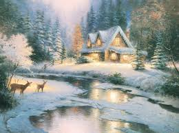 Thomas Kinkade Christmas Tree Village by Deer Creek Cottage U2013 Canvas Classic The Thomas Kinkade Company