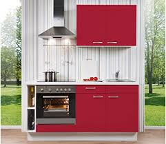 de singleküche rot links 170cm breit inkl