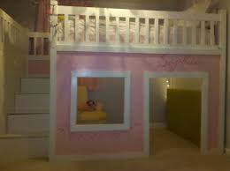 custom white full size loft bed with stair and nice privacy space