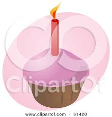 Pink Birthday Cupcake Clip Art
