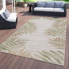 outdoor teppich palmenblätter look beige grün