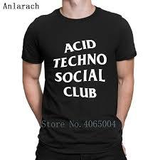 Ácido Techno Social Club Camiseta Divertida Casual Verano Estilo Carta Formal Impresa SXXXL Linda