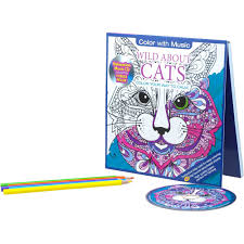 Cats Stress Relieving Designs Adult Coloring Book With Bonus Relaxation CD Zoom