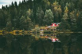 100 House In Forest Red House In Lake Reflection