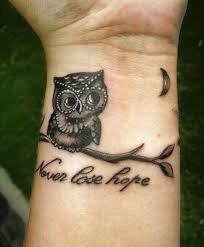 Never Lose Hope Tattoo Quote With An Owl And Moon