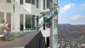 crazy all glass slide will be suspended 1 000 feet high off la s