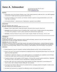 Entry Level Chemistry Resume Sample