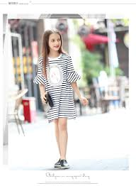 big girls dresses summer clothes for teen frock stiped kids