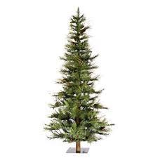 Vickerman Slim Flocked Christmas Tree by 5 Ft Ashland Fir Slim Unlit Christmas Tree With Wood Trunk Green