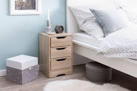 wohnling nachtkonsole wl5 705 31x49x31 cm sonoma mit 3 schubladen braune nachtkommode mit stauraum nachttisch schlicht modern nachtschränkchen